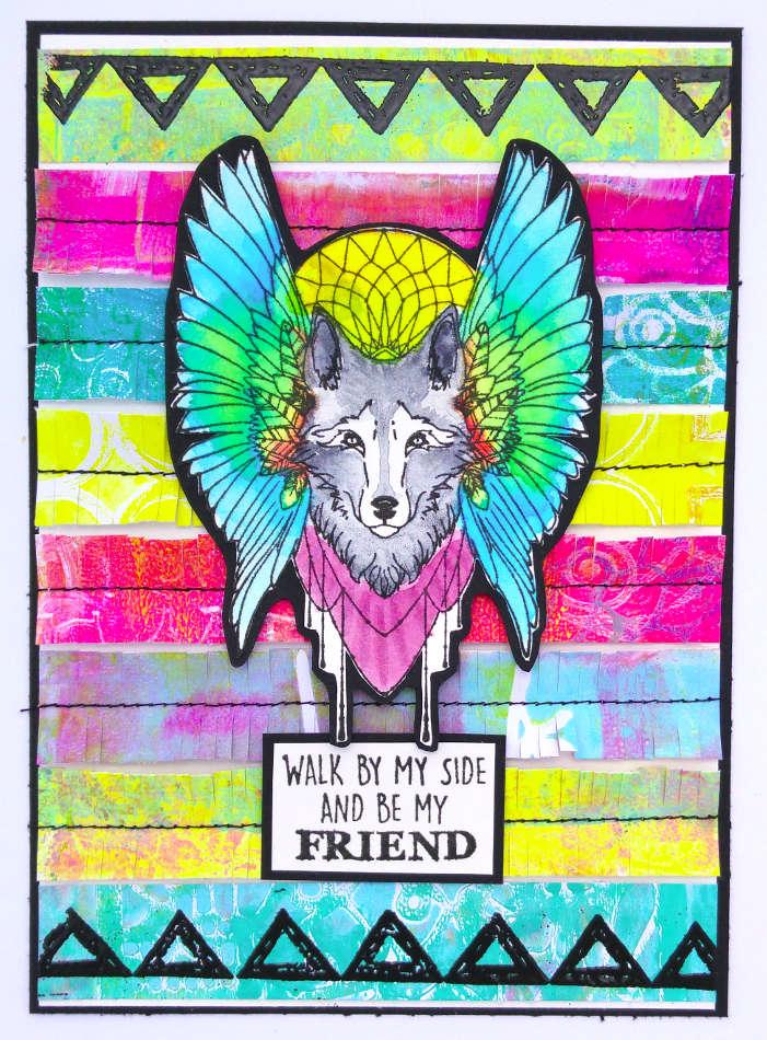 """Carte amitié """"loup"""""""