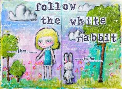 """Art Journaling """"Alice & the white rabbit"""""""