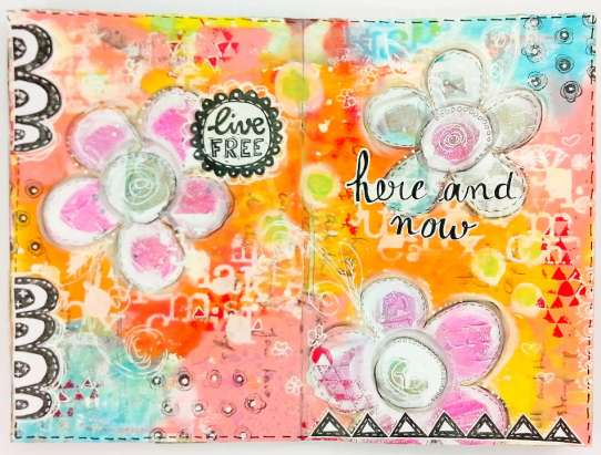 "Art journaling ""Here and now"""