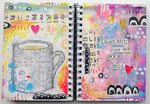 """Art journaling thème """"Tea time"""" pour le Positiv Journal"""""""