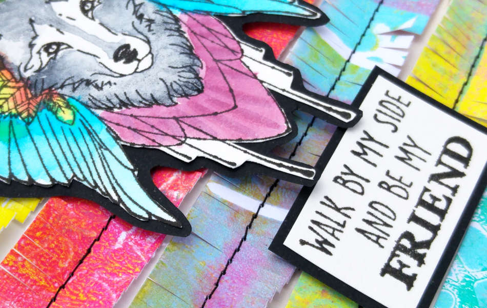 creation carte amitié loup - détail 01